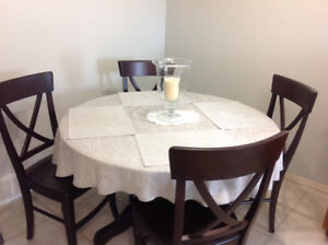 CUSTOM MADE SOLID WOOD  DINING TABLE & CHAIRS