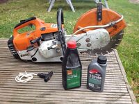 Petrol Stihl Saw TS400 with segmented diamond blade and extras