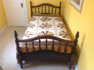 Antique Spindle Bed - single with mattress, beautifully crafted