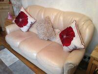 Cream real leather three piece suite