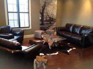 Meubles de salon confortables en cuir brun chocolat