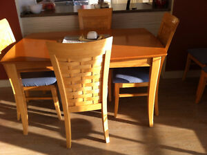 Table and chairs; extra chairs and antique bench