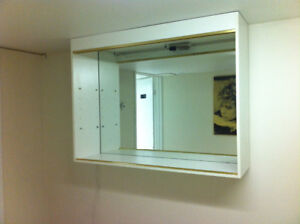 *OFF WHITE DISPLAY WALL UNIT WITH MIRROR AND LIGHT