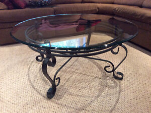 Beveled Glass Round Coffee Table