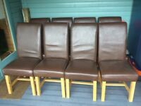 Set of Eight Dining Room Chairs with Oak Frames and Leather Covers
