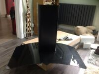 90cm curved black glass extractor hood