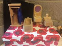 Wooden Doll's House Bathroom Furniture