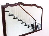 """Large Mirror with wooden frame. Made by Geddes (53""""x37"""")"""
