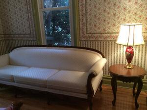 Très bel ensemble de salon complet blanc avec tables-5 morceaux