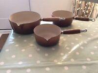 Set of 3 Le Creuset Pans, cast iron