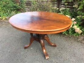 Victorian Walnut Loo Tilt Top Breakfast/Dining Table