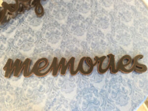 """Wall sign """"MEMORIES"""" in Black Script **Excellent Condition**"""