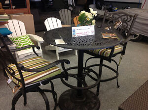 3 Piece Pedestal Table and Swivel Bar Chairs