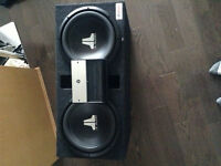 "Two 12"" subwoofers already in box and 600 watt amp"