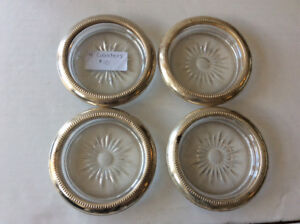 VINTAGE: GLASS COASTERS/ASH TRAYS SILVERPLATED RIM
