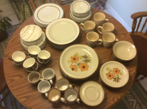 Dinner plates, sandwich plates, bowls, mugs cups and saucers