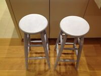 Pair of shabby chic distressed chalk painted bar stools