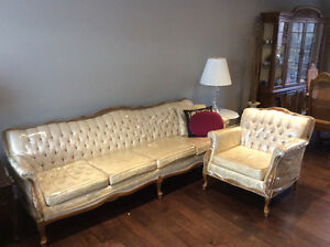Antique sofa, chairs and end tables set