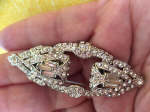 Vintage Estate Art Deco Rhinestone Duet Brooch