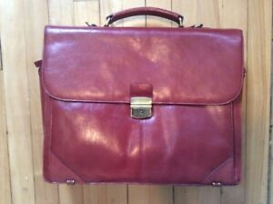 Danier red leather briefcase