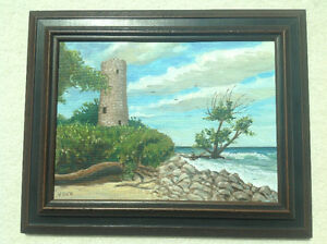PAINTING OF PELEE ISLAND NORTH LIGHTHOUSE BY V. DICK