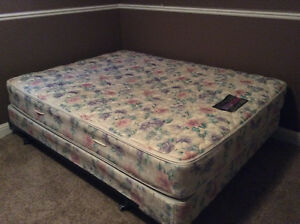 Queen mattress, box spring and frame