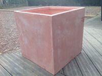Terracotta fibrecotta cube planter