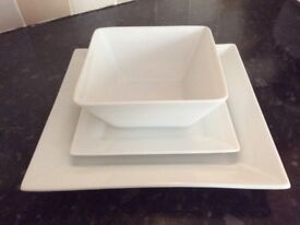 White square porcelain dinner service