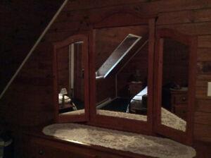 Miroir avec 2 volets pour bureau ou coiffeuse