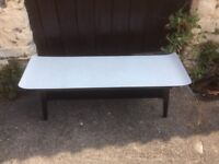 Vintage Retro Black and White Formica Coffee Table with Shelf