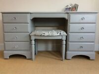 Shabby to Chic - Quality Ducal dressing table and matching stool