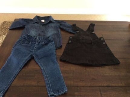 Denim clothes ----size 1. Longsleeve top is only denim look.