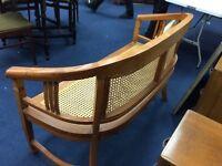 Hardwood n wicker bench