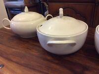 Glazed porcelain serving pots x3