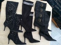 3 PAIRS OF LADIES FASHION BOOTS SIZE 5