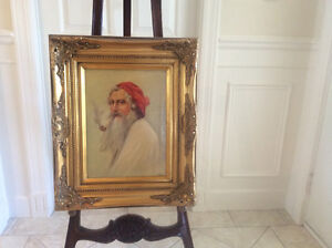 Vintage signed oil painting on canvas