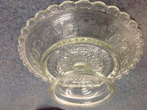 Antique Vintage Glass Etched Plate With Attached Stand