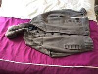 Mans large size grey hooded cardigan