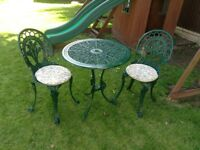 CAST ALUMINIUM GARDEN TABLE AND 2 CHAIRS BISTRO SET
