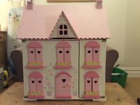 Early Learning Centre 3-storey wooden dolls house with furniture
