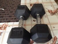 2 25lbs Dumbbells used a few times fairly new