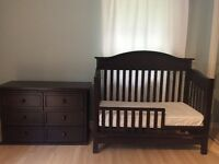 Solid Wood Convertible Crib Set and Dresser
