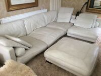 Large White Leather Corner Suite