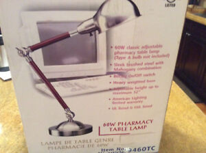 American Lighting Pharmacy Table Lamp - Wood and Stainless Steel