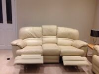 Leather 3 seater, 2 seater and chair