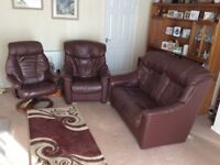 Real Leather Sofa and Two Chairs Chocolate Brown