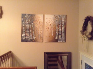 Large abstract painting birch trees