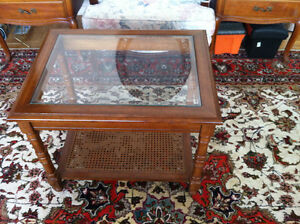 Coffee table with glass on top
