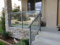 Aluminium deck railings. posts and tempered glass panels