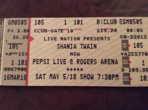 Shania Twain tickets (2) in Vancouver May 5th